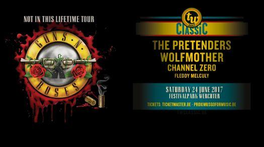 Naast Guns N' Roses ook Fleddy Melculy, Channel Zero, Wolfmother en The Pretenders op TW Classic!
